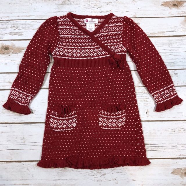 Christmas Holiday Fair Isle Red Sweater Dress Toddler Girl 2T by ...