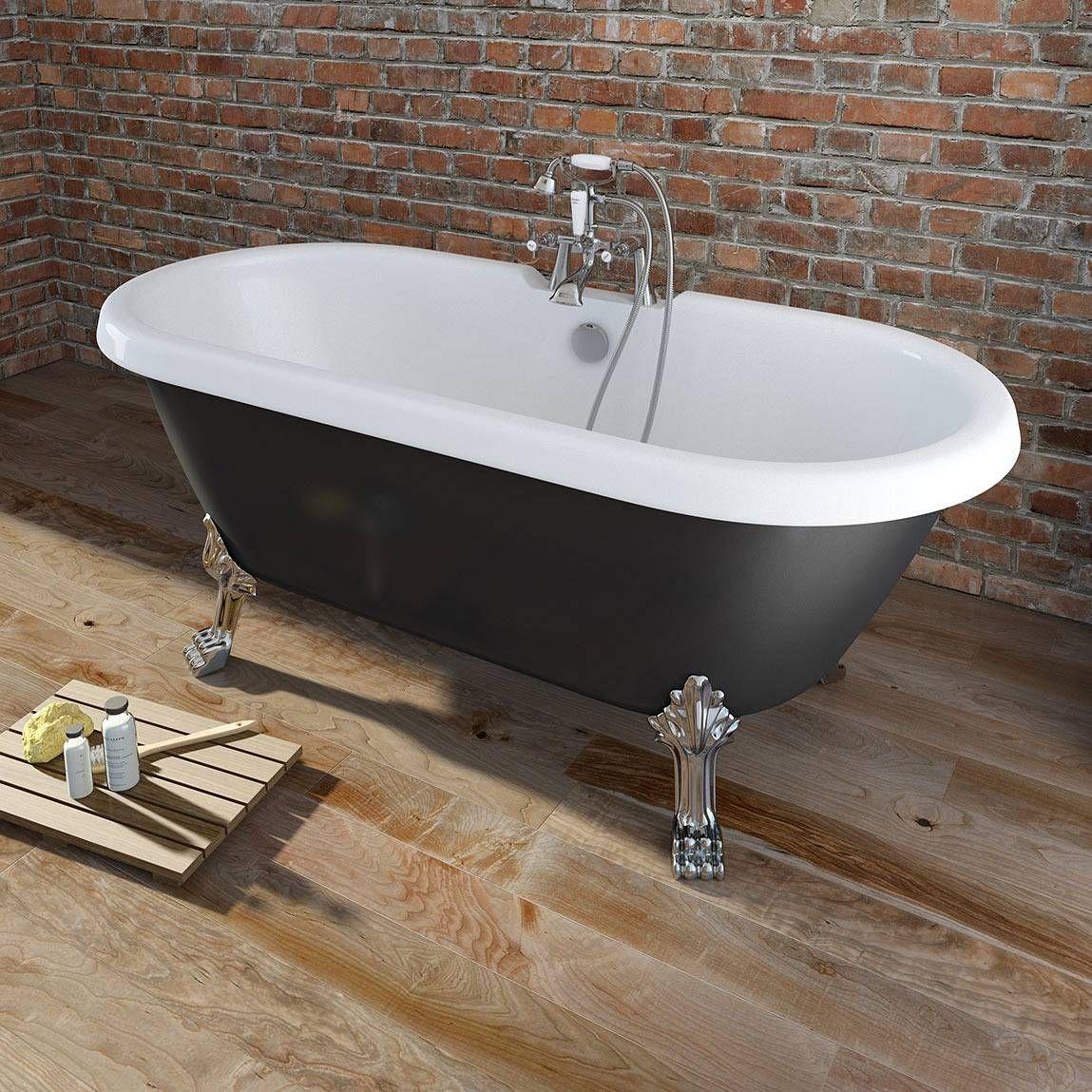 Shakespeare Black Roll Top Bath - https://victoriaplum.com ...