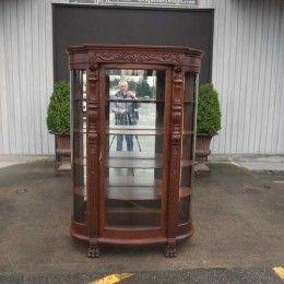 Antique and Vintage Furniture For Sale - George Flint Solid Tiger Oak China Cabinet