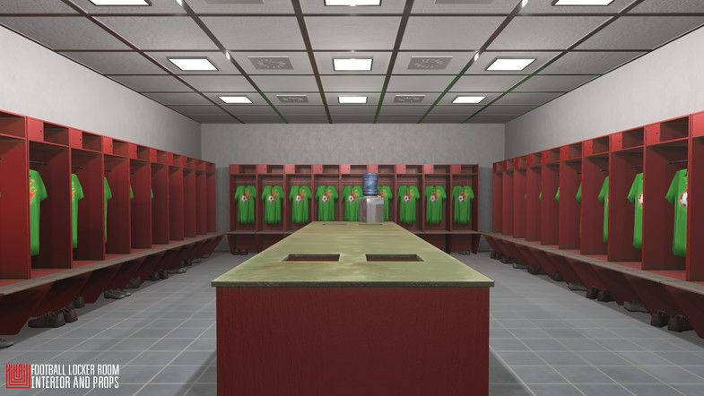 Football Locker Room Interior And Props Sponsored Ad Room Locker Football Interior Room Interior Soccer Room Locker Room