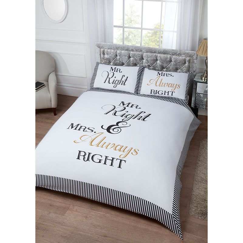 Mr Mrs King Duvet Set Includes One Size Cover And Two Pillow