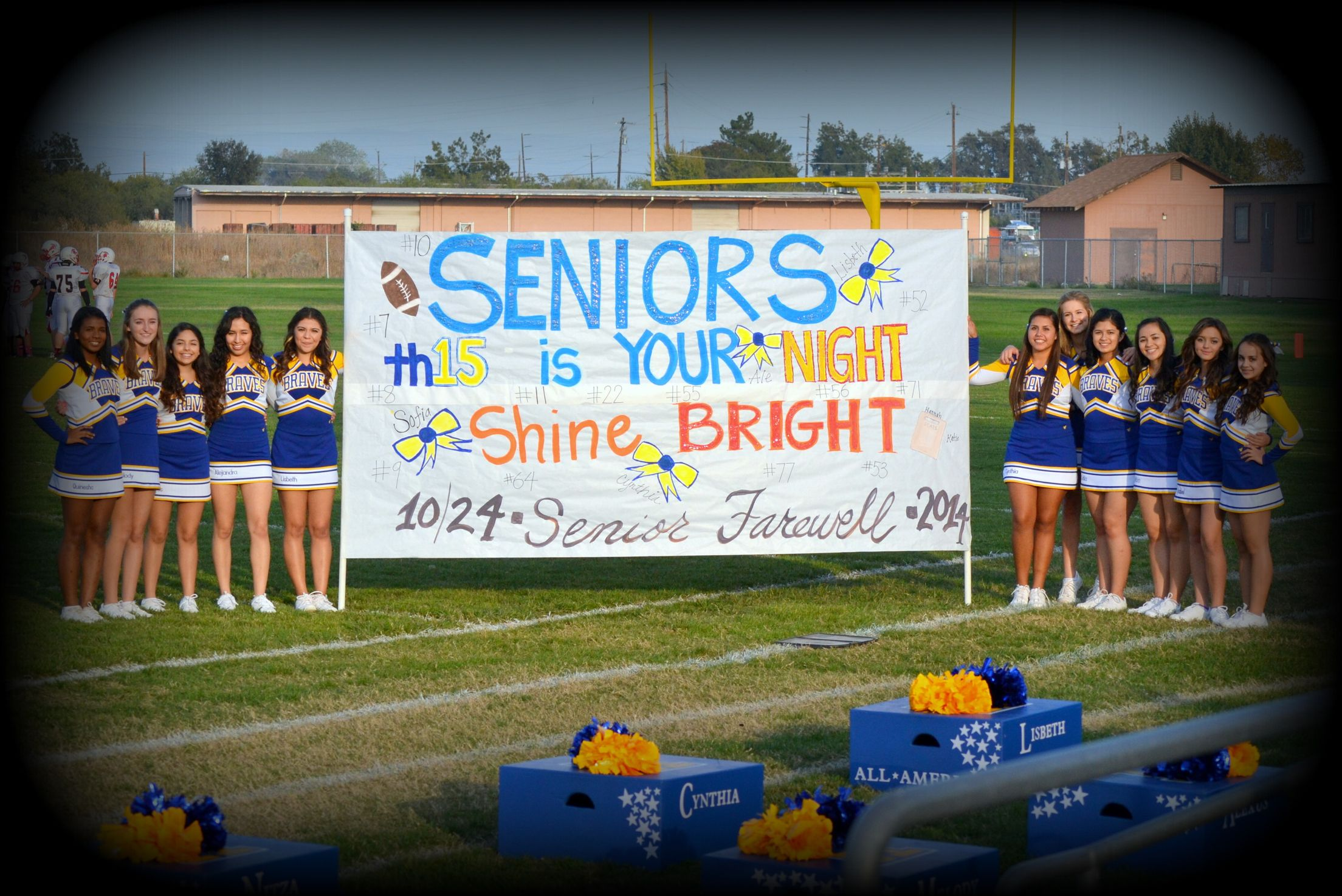 Senior Night Seniors Shine Bright This Is Your Night Th15 2015 But Can Change N16ht Or Br16ht For 2016 Senior Night Football Cheer Signs Varsity Cheer