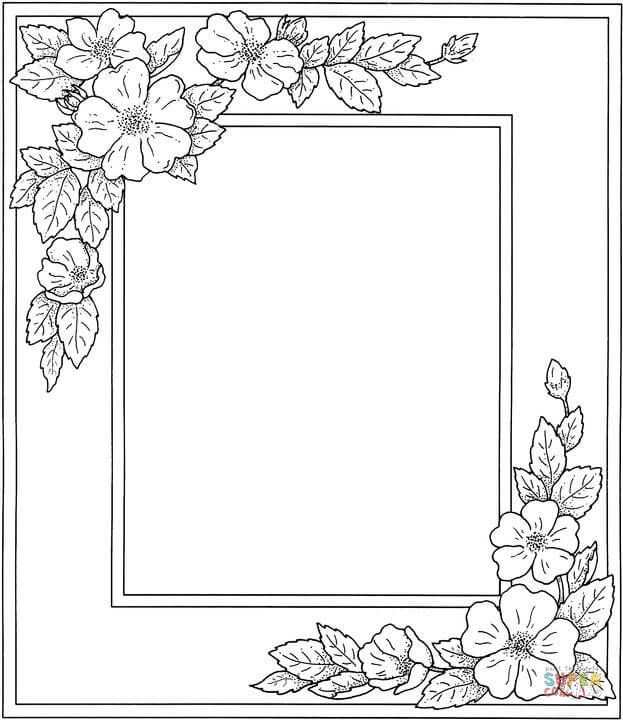 Photo Frame With Flowers   Printable flower coloring pages ...