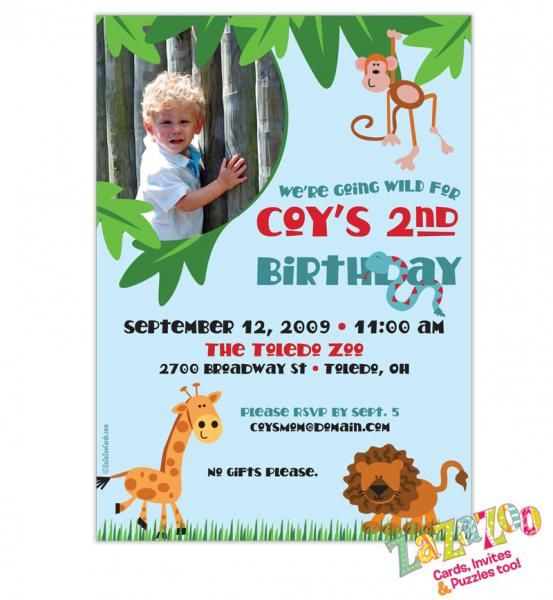 Your little zoo keeper will love his or her jungle themed invitation