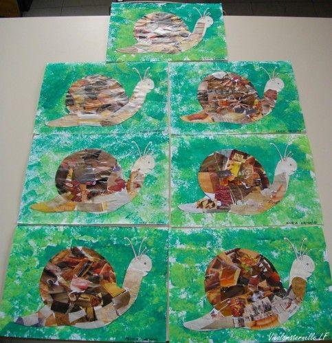 escargots r alis s par les moyens fond r alis la peinture l 39 ponge escargot collage de. Black Bedroom Furniture Sets. Home Design Ideas
