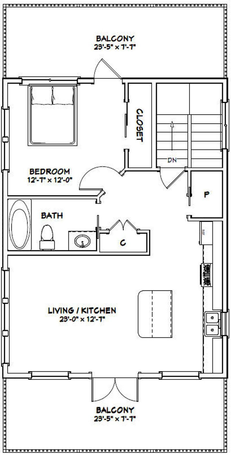 24x32 House 1 Bedroom 1 5 Bath 830 Sq Ft Pdf Floor Etsy In 2020 Floor Plans House Floor Plans Garage Apartment Plans
