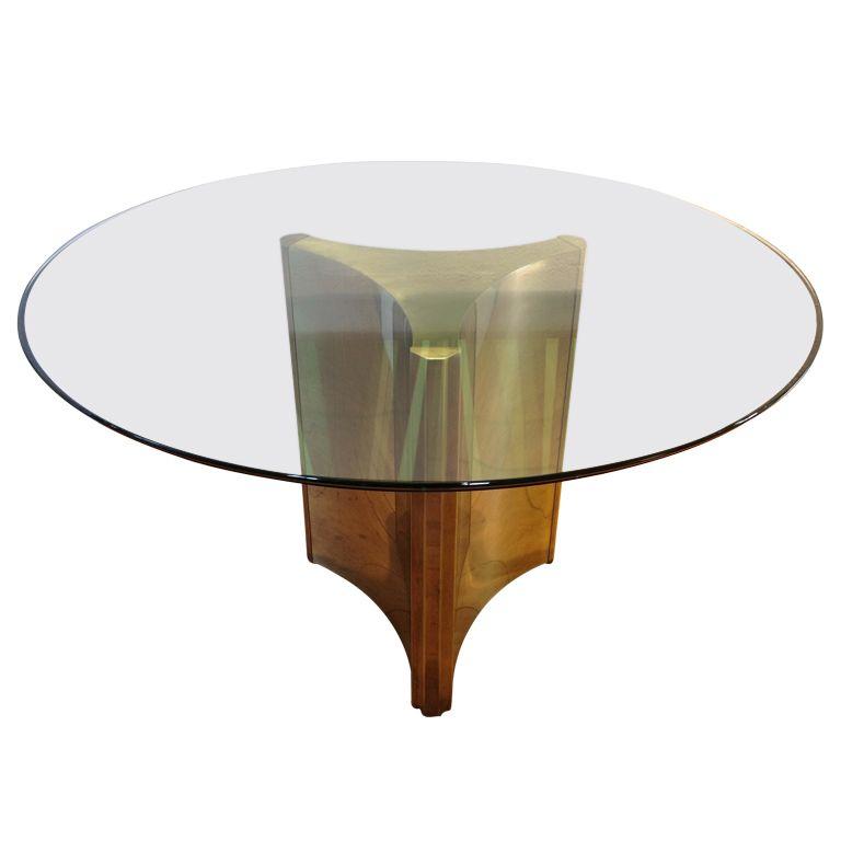 Mastercraft Triangulate Pedestal Brass Base Dining Table - Mastercraft Triangulate Pedestal Brass Base Dining Table Best