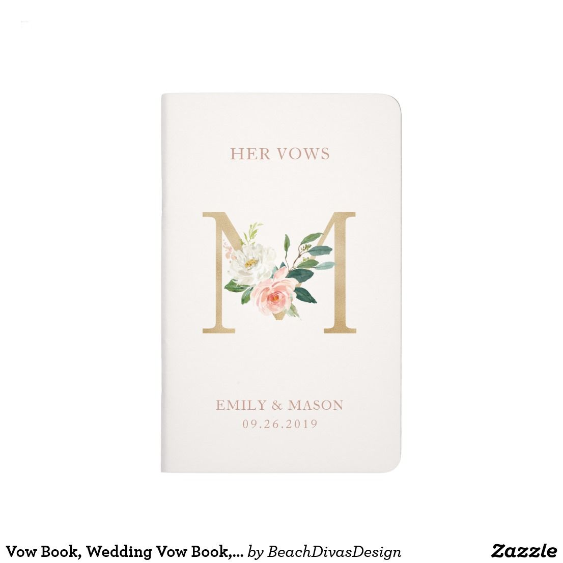 Vow Book Wedding Vow Book Letter M Journal Wedding Vow Books