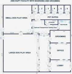 Dog Kennel Floor Plan 2500 Sq Ft With Boarding And