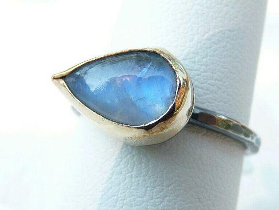 handmade rainbow moonstone ring  14k gold filled bezel by Leoben, etsy