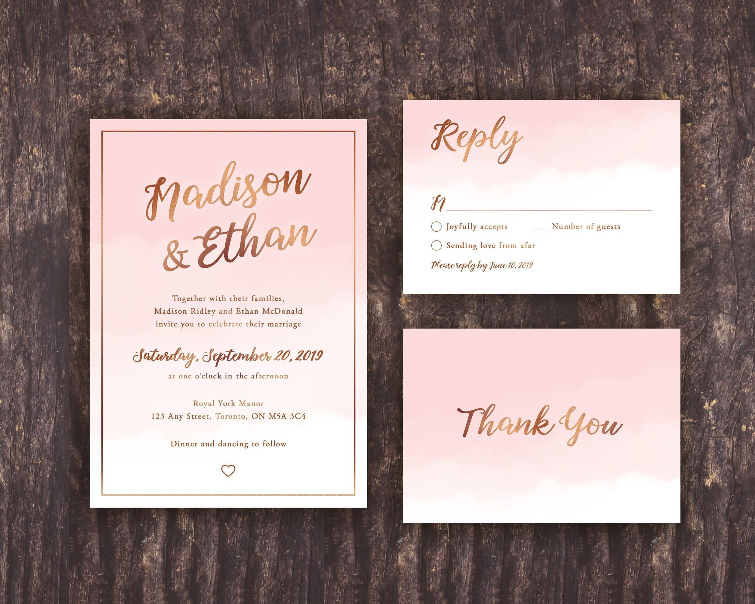 Blush Pink and Gold Wedding Invitation Template, Pink ...