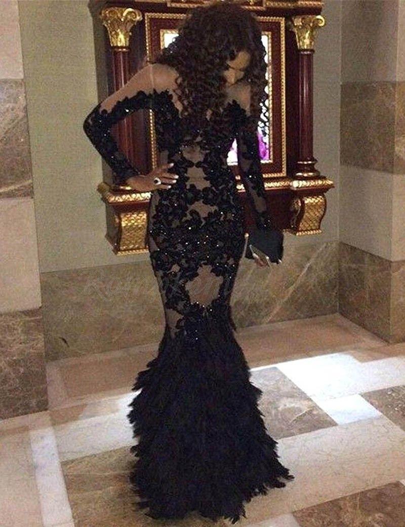 Mermaid jewel long sleeves beaded black prom dress with lace