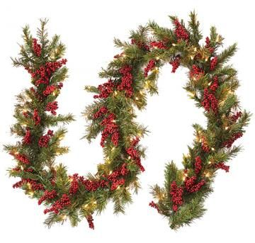 Pre-Lit Artificial Pine Garland with Red Berries - Lighted Christmas Garland  - Holiday Garland - Holiday Decor - Christmas Decor | HomeDecorators.com - Pre-Lit Artificial Pine Garland With Red Berries - Lighted Christmas