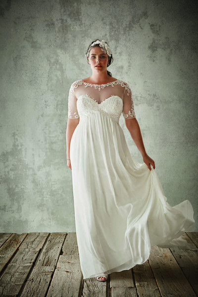 Cheap Fashion Plus Size Wedding Dresses With Half Sleeves Sheer Jewel Neck A Line Lace Appliqued Bridal Gowns Chiffon Empire Waist Dress As Low