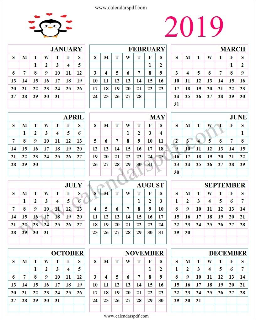 2019 Free Printable Calendar Cute Cute Calendar 2019 Calendar