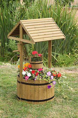 Beautiful Smart Garden Wooden Wishing Well Planter Solid Pine Outdoor Flower Ornament