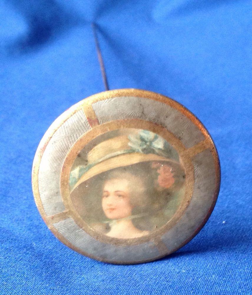 VINTAGE ANTIQUE VICTORIAN LADY PICTURE HAT PIN