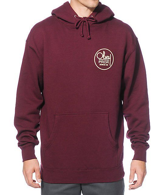 """Update your street style with a comfortable fleece lined burgundy colorway and an """"Obey Prop Since 89"""" graphic on the left chest and larger on the back."""