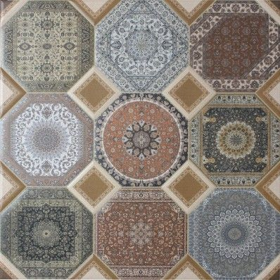 The Aladin tile is a large 60cm x 60cm square tile that compiles different geometric patterns, in a mixture of middle eastern styles which creates a truly unique and individual pattern. The tiles are seemingly made up of nine octagonal pieces that are linked together with smaller square inserts, but is actually one solid tile. The tile is perfect for large areas and hallways where the recurring patterns can be fully appreciated.