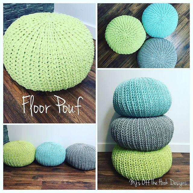 Crochet Floor Pouf And Ottoman Free Patterns Crochet Pinterest