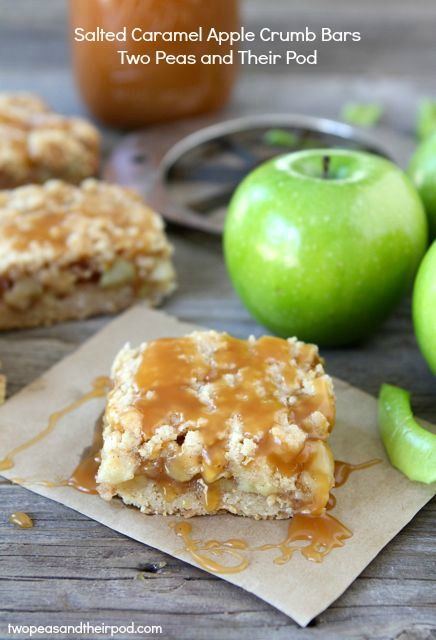Salted Caramel Apple Crumb Bars | Two Peas and Their Pod
