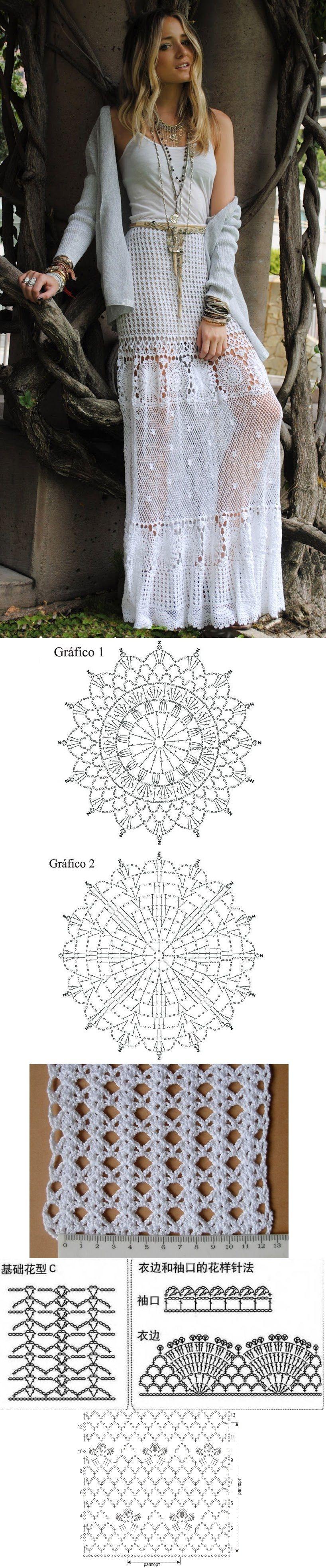 Crochet - Saia Longa Branca. | Stykez | Pinterest | Falda, Tejido y ...