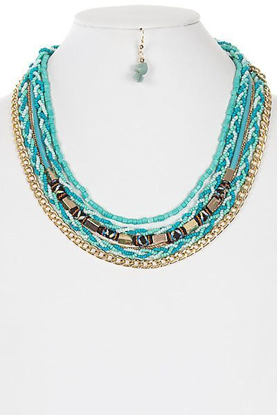 Beads And Stones With Chains Multi Layered Necklace Set