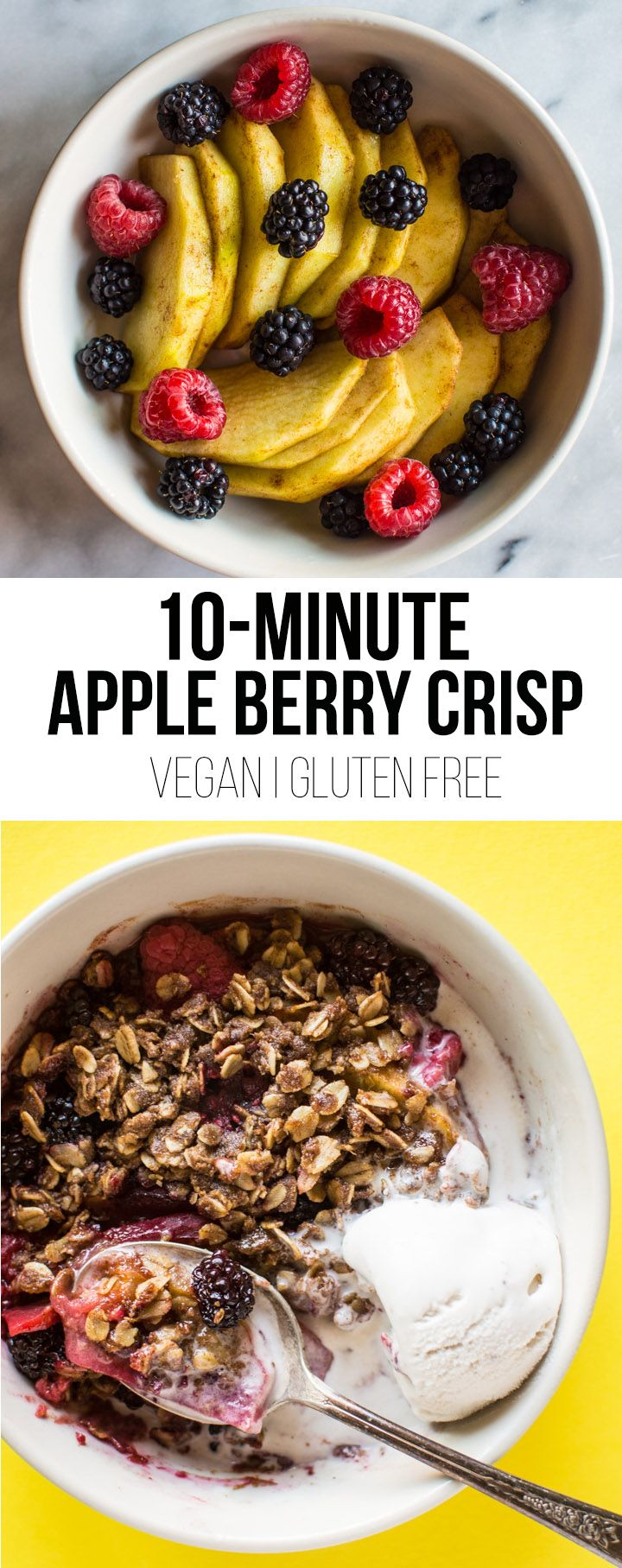 This scrumptious vegan microwave apple berry crisp is ready in under 10 minutes! All you need is a bowl, your microwave, and a sweet tooth!