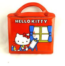 Vintage Original Red Sanrio Hello Kitty Colored Pencil & Pad Kit Japan 1976