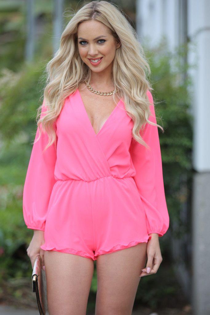 Kora Hot Pink Long Sleeve Romper | Rompers, Jumpsuit