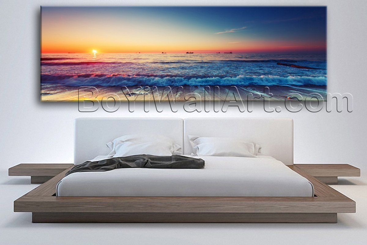 Large sunset glow feng shui modern wall art print on canvas decor