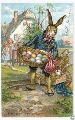 Rabbits Wearing Clothes Vintage Easter Easter Postcards Easter