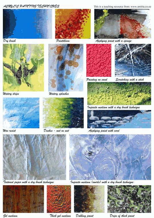 Free art teacher resources acrylic painting techniques for Different watercolor techniques
