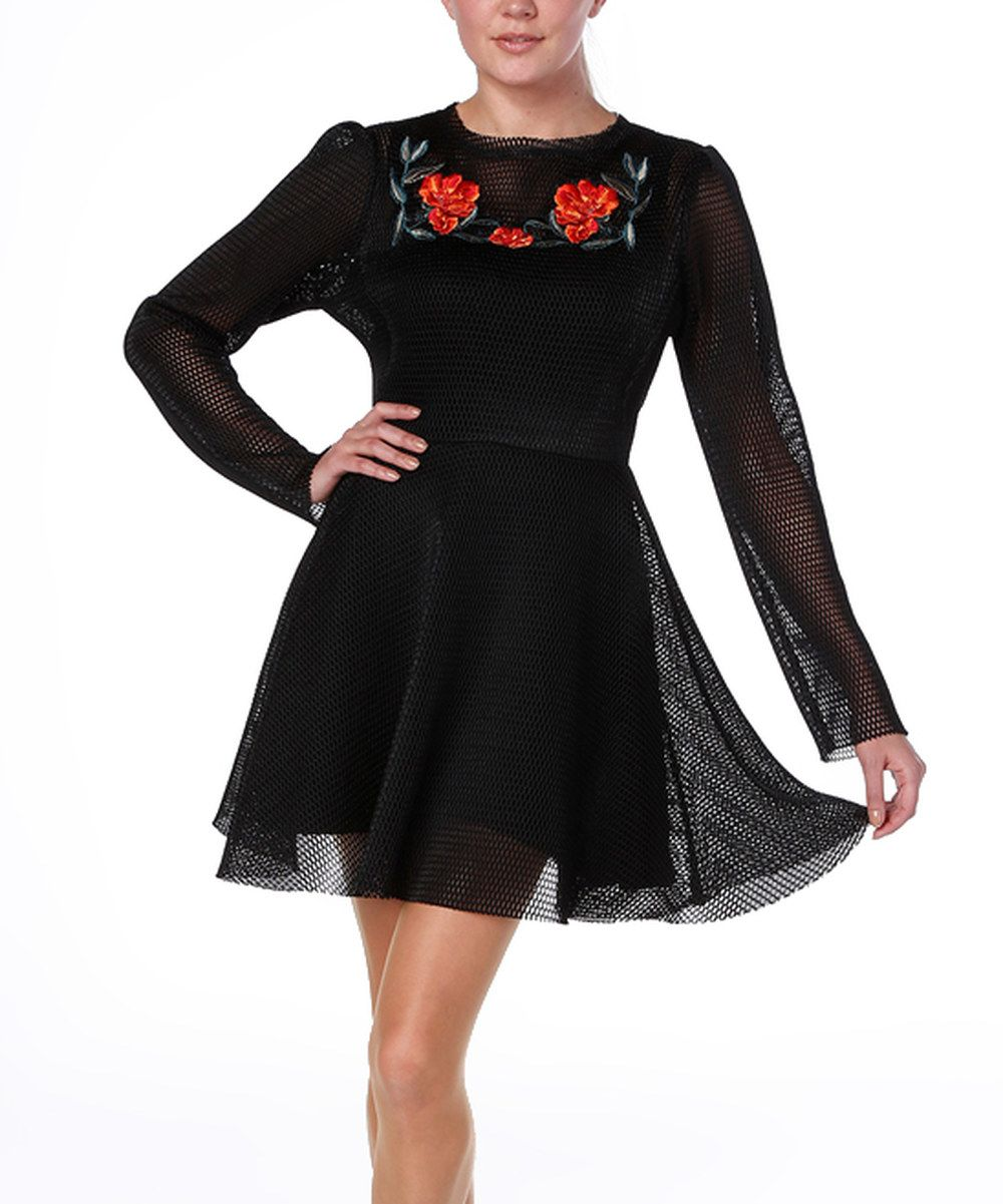 Look at this black u red floral mesh fit u flare dress on zulily
