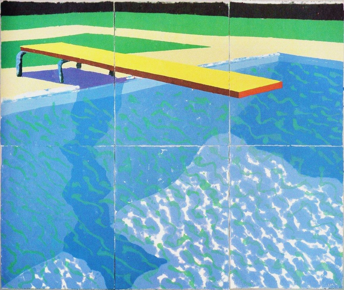 David Hockney Diving Board With Shadow 1978 Colored And Pressed Paper Pulp 72x85 1 2 In