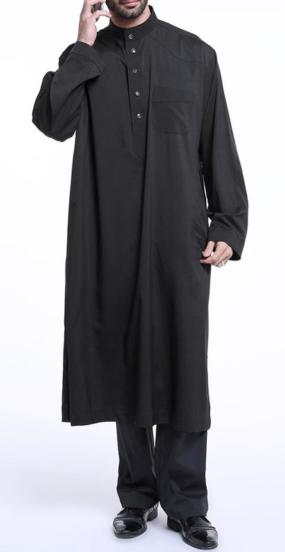 قميص أسود بلا أكمام نصف مفتوحة قفطان طويل Long Shirt Dress Long Shirt Dress P