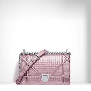 44ad223a0794 Dior Pink Perforated Calfskin Diorama Small Bag