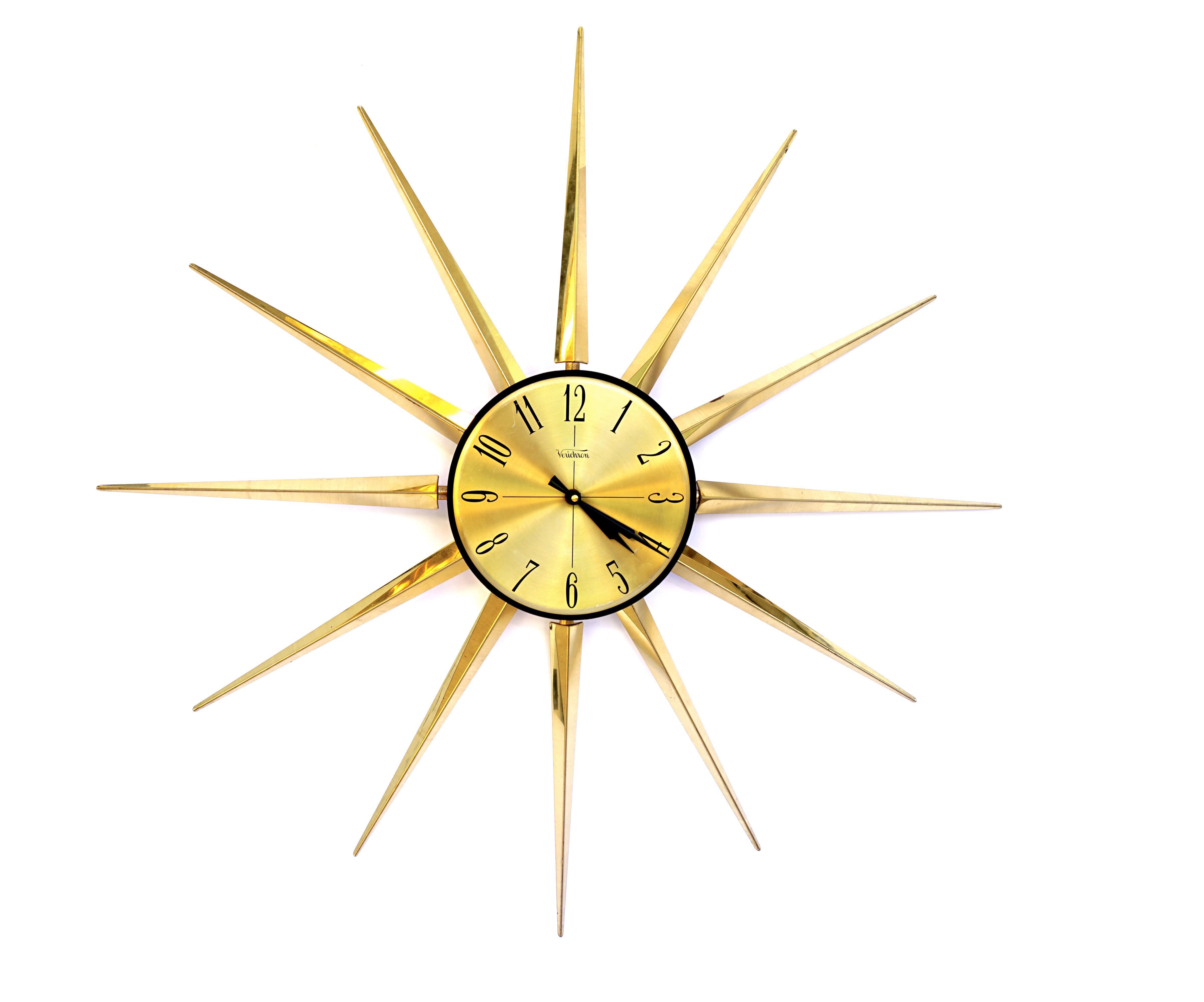 Huge Mid Century Modern Gold Starburst Wall Clock 32 Space Age Metal Statement Verichron Clock Battery Operated German Mo Wall Clock Clock Gold Starburst