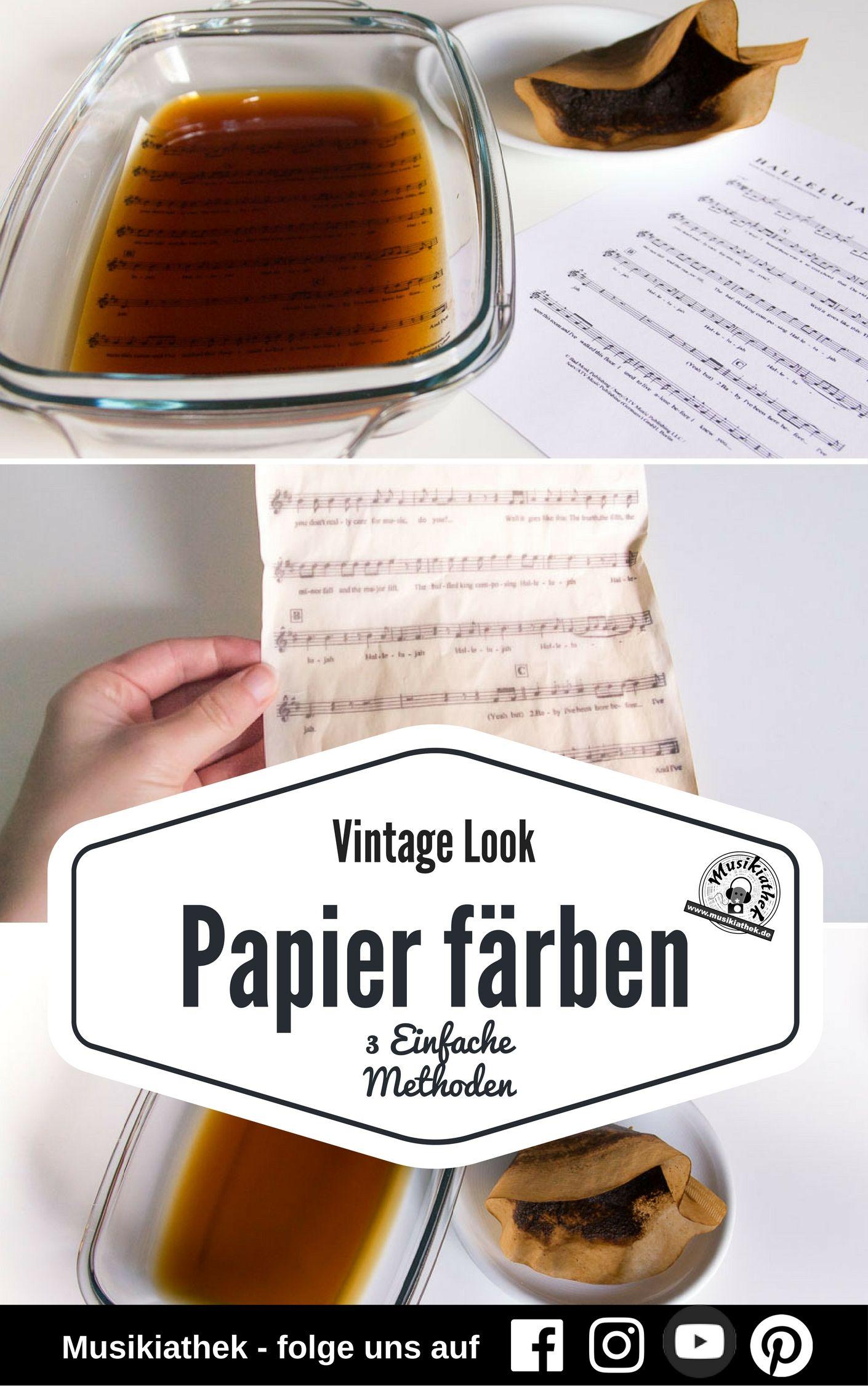 vintage look 3 einfache methoden um papier zu f rben musikiathek pinterest papier. Black Bedroom Furniture Sets. Home Design Ideas