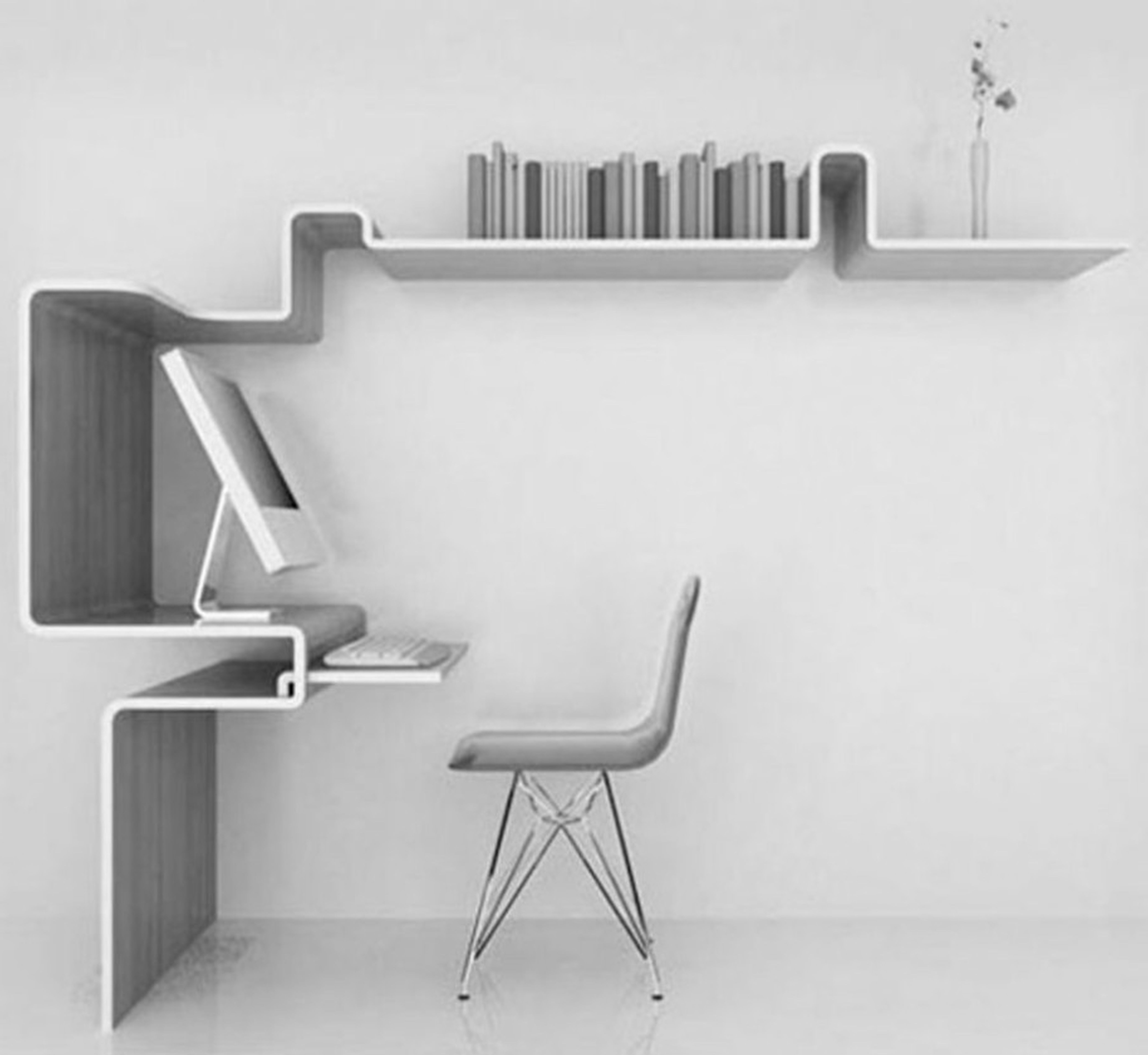 Best Computer Desks Modern Wall Mounted Space Saving Computer Desk Of The  Unique Curved Slim Shaped Bookshelves Ideas And Grey Leather Chair Metal  Leg ...