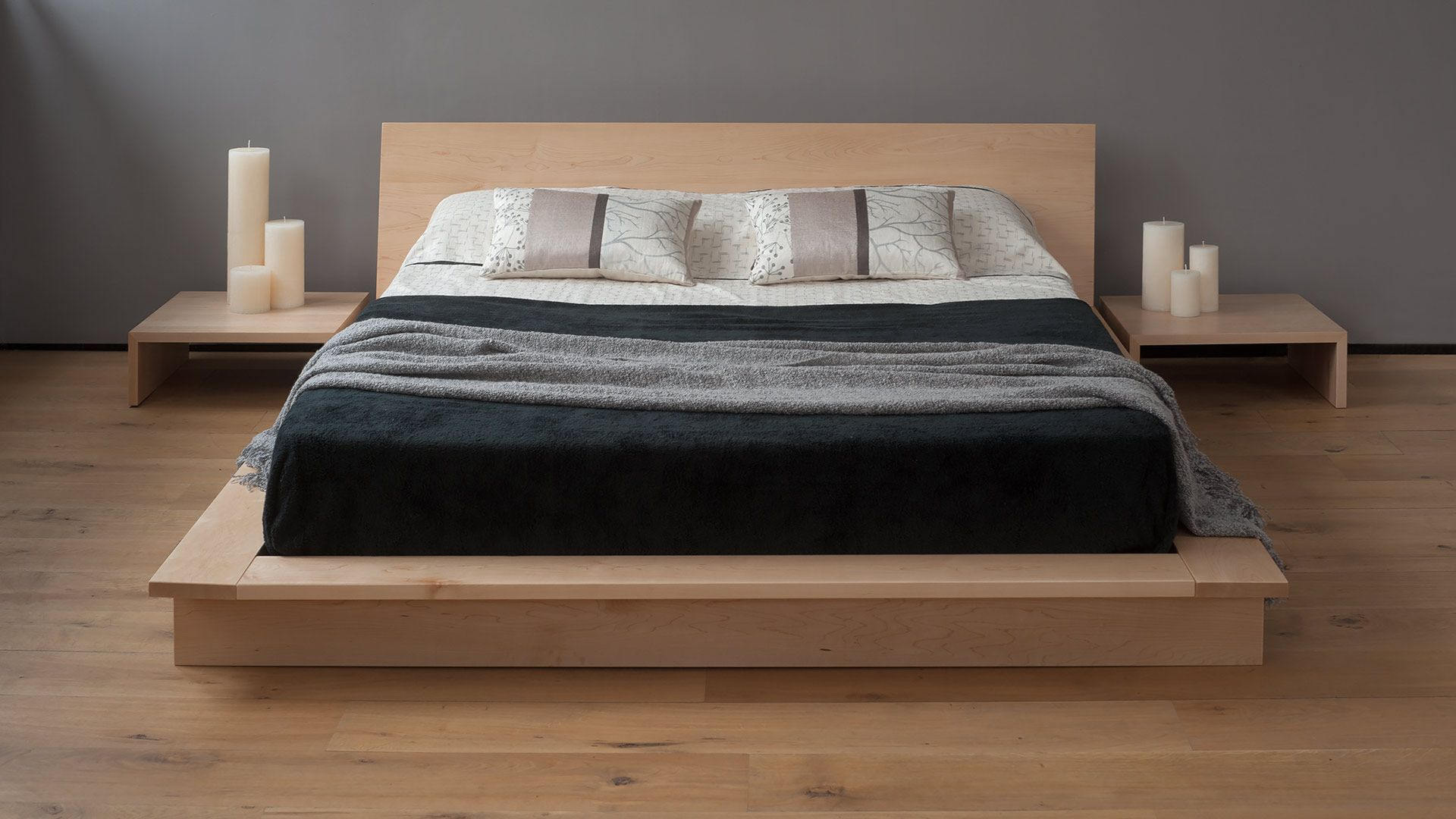 Oregon is a low, solid wood, platform bed, with an ultra