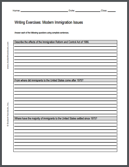009 Modern Immigration Issues Writing Exercises Free to
