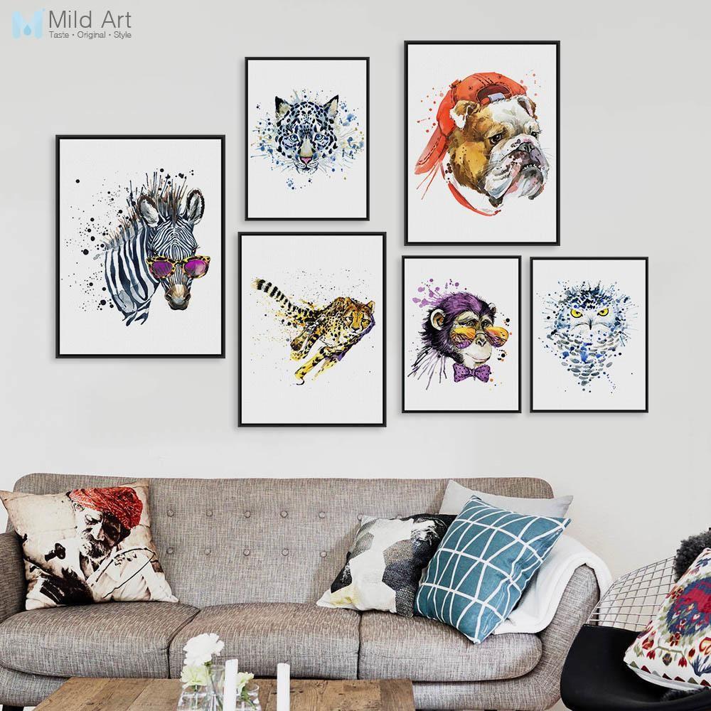 Watercolor Fashion Animals Head Zebra Lion A4 A3 Art Prints Poster ...