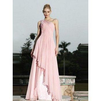 elegante one shoulder abendkleider rosa alinie chiffon lang  abendkleid rosa abendkleid