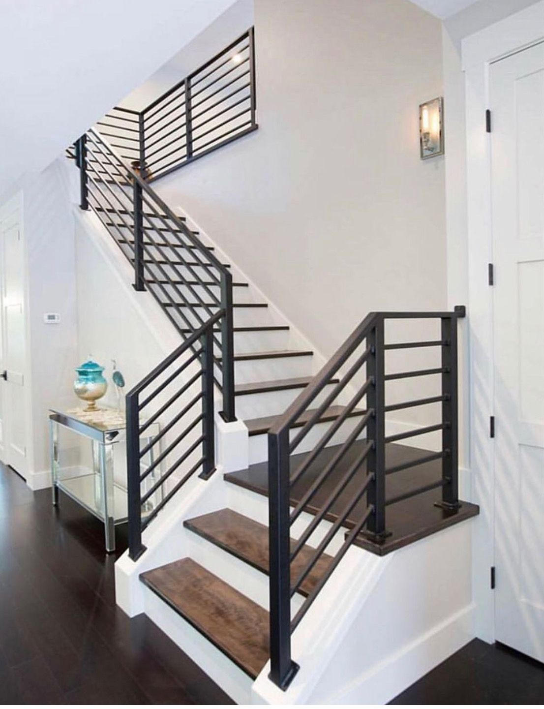 Love The Metal Railing Stairs Design Modern House Stairs   Modern Stair Railings Interior   Minimalist   Luxury   Straight   Wall Mounted   Brushed Nickel