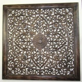 India Overseas Trading Sh 15751 Square Wall Hanging Panel 24x24 Wooden Wall Panels Carved Wood Wall Panels Wall Paneling