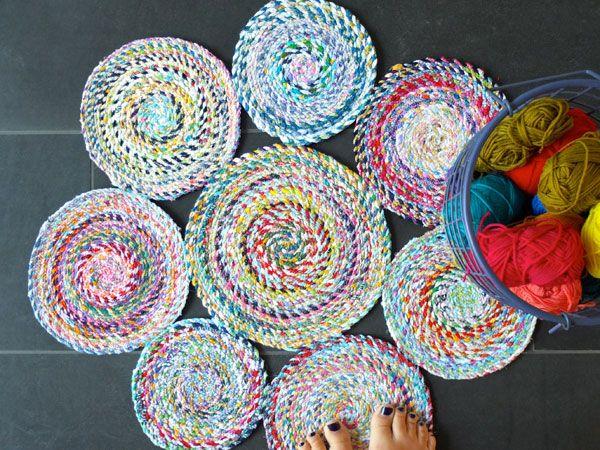 DIY alfombra chatarra tejido hecho a mano de hilo trenzado mypoppet.com.au