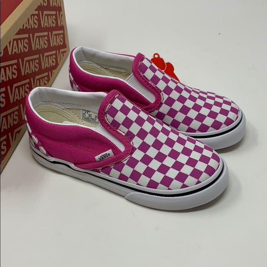 VANS classic slip checker raspberry