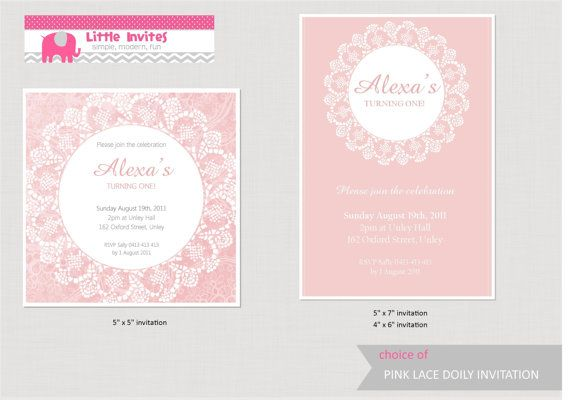 Vintage 1st birthday invitations choice image coloring pages adult vintage pink lace doily girls birthday invitationdiy printable filmwisefo