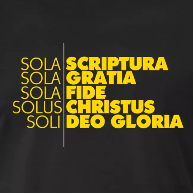 5 Solas Mens Premium T Shirt Calvinist Tees In 2021 Sola Scriptura Lutheran Humor Words